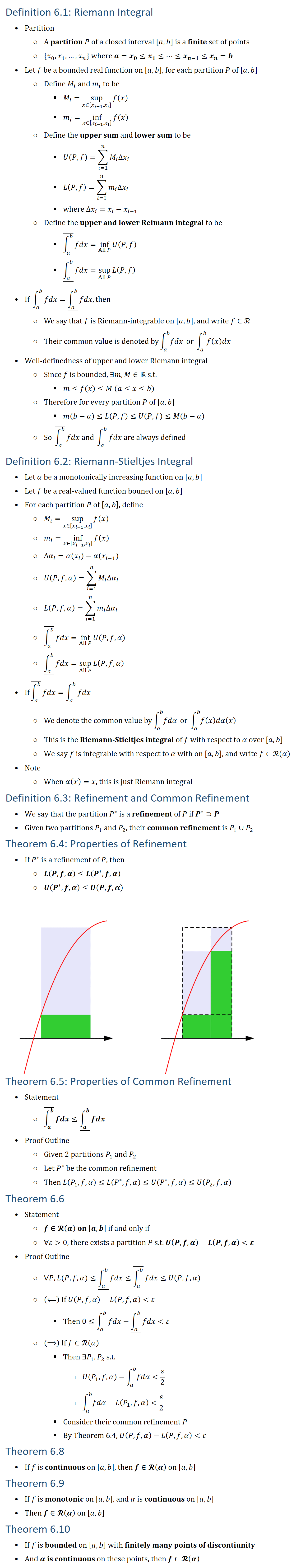 Definition 6.1: Riemann Integral • Partition ○ A partition P of a closed interval [a,b] is a finite set of points ○ {x_0,x_1,…,x_n } where a=x_0≤x_1≤…≤x_(n−1)≤x_n=b • Let f be a bounded real function on [a,b], for each partition P of [a,b] ○ Define M_i and m_i to be § M_i=sup┬(x∈[x_(i−1),x_i ] )f(x) § m_i=inf┬(x∈[x_(i−1),x_i ] )f(x) ○ Define the upper sum and lower sum to be § U(P,f)=∑_(i=1)^n▒〖M_i Δx_i 〗 § L(P,f)=∑_(i=1)^n▒〖m_i Δx_i 〗 § where Δx_i=x_i−x_(i−1) ○ Define the upper and lower Reimann integral to be § (∫_a^b▒ ) ̅fdx=inf┬(All P)U(P,f) § ▁(∫_a^b▒ ) fdx=sup┬(All P)L(P,f) • If (∫_a^b▒ ) ̅fdx=▁(∫_a^b▒ ) fdx, then ○ We say that f is Riemann\-integrable on [a,b], and write f∈R ○ Their common value is denoted by∫_a^b▒fdx or ∫_a^b▒f(x)dx • Well-definedness of upper and lower Riemann integral ○ Since f is bounded, ∃m,M∈R s.t. § m≤f(x)≤M (a≤x≤b) ○ Therefore for every partition P of [a,b] § m(b−a)≤L(P,f)≤U(P,f)≤M(b−a) ○ So (∫_a^b▒ ) ̅fdx and ▁(∫_a^b▒ ) fdx are always defined Definition 6.2: Riemann-Stieltjes Integral • Let α be a monotonically increasing function on [a,b] • Let f be a real-valued function bouned on [a,b] • For each partition P of [a,b], define ○ M_i=sup┬(x∈[x_(i−1),x_i ] )f(x) ○ m_i=inf┬(x∈[x_(i−1),x_i ] )f(x) ○ Δα_i=α(x_i )−α(x_(i−1) ) ○ U(P,f,α)=∑_(i=1)^n▒〖M_i Δα_i 〗 ○ L(P,f,α)=∑_(i=1)^n▒〖m_i Δα_i 〗 ○ (∫_a^b▒ ) ̅fdx=inf┬(All P)U(P,f,α) ○ ▁(∫_a^b▒ ) fdx=sup┬(All P)L(P,f,α) • If(∫_a^b▒ ) ̅fdx=▁(∫_a^b▒ ) fdx ○ We denote the common value by∫_a^b▒fdα or ∫_a^b▒f(x)dα(x) ○ This is the Riemann-Stieltjes integral of f with respect to α over [a,b] ○ We say f is integrable with respect to α with on [a,b], and write f∈R(α) • Note ○ When α(x)=x, this is just Riemann integral Definition 6.3: Refinement and Common Refinement • We say that the partition P^∗ is a refinement of P if P^∗⊃P • Given two partitions P_1 and P_2, their common refinement is P_1∪P_2 Theorem 6.4: Properties of Refinement • If P^∗ is a refinement of P, then ○ L(P,f,α)≤L(P^∗,f,α) ○ U(P^∗,f,α)