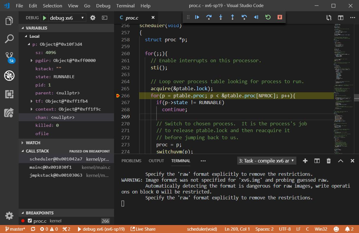 Co-debug xv6 on Windows using VSCode | Shawn Zhong - 钟万祥